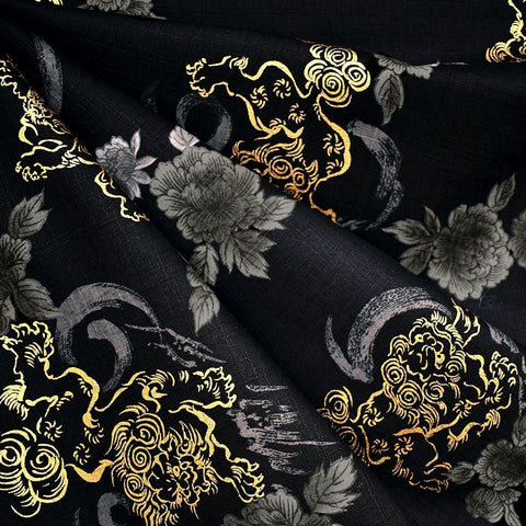 Japanese Dobby Texture Cotton Lion Floral Black/Gold