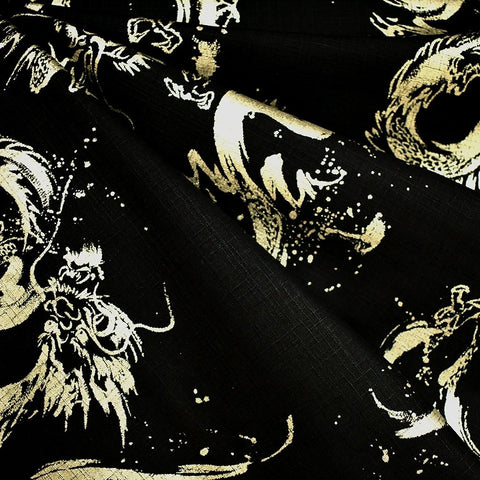 Japanese Dobby Texture Cotton Metallic Dragon Black/Gold