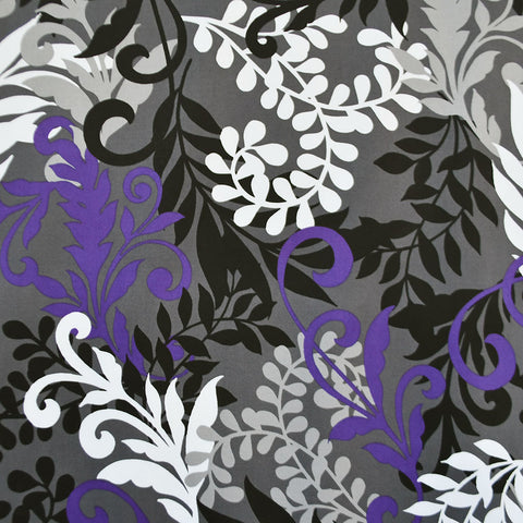Leaf Silhouette Stretch Sateen Charcoal/Purple