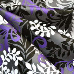 Leaf Silhouette Stretch Sateen Charcoal/Purple - Fabric - Style Maker Fabrics