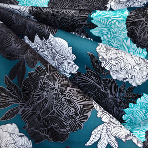 Outline Floral Stretch Sateen Teal/Charcoal