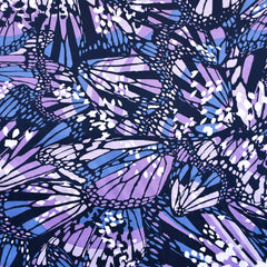 Butterfly Collage Stretch Sateen Navy/Lavender SY - Sold Out - Style Maker Fabrics
