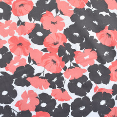 Spring Poppy Stretch Sateen Coral/Charcoal SY - Selvage Yard - Style Maker Fabrics