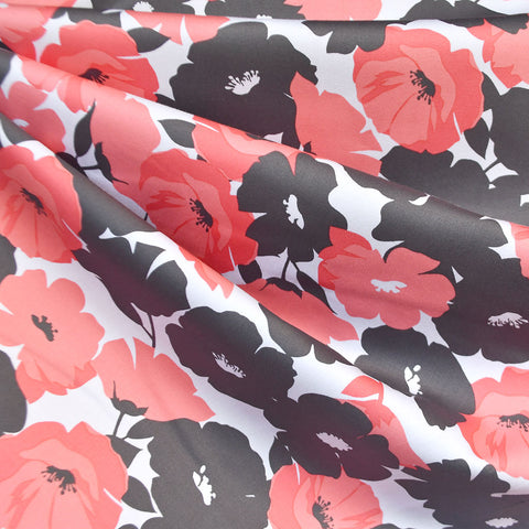 Spring Poppy Stretch Sateen Coral/Charcoal