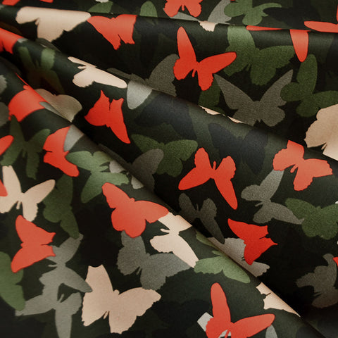 Butterfly Camo Stretch Sateen Olive/Red