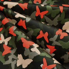 Butterfly Camo Stretch Sateen Olive/Red - Fabric - Style Maker Fabrics
