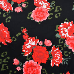 Tonal Floral Stretch Sateen Black/Red - Fabric - Style Maker Fabrics