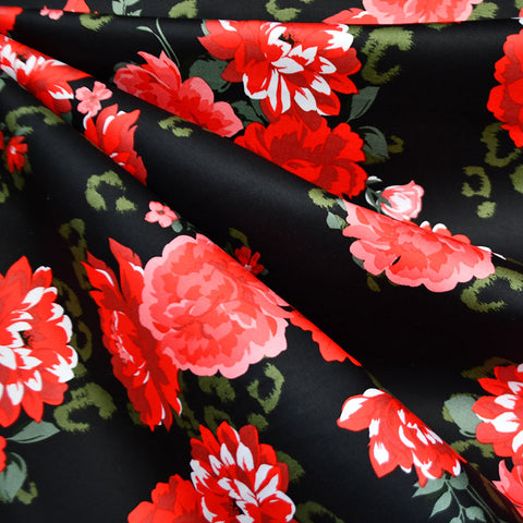 Tonal Floral Stretch Sateen Black/Red