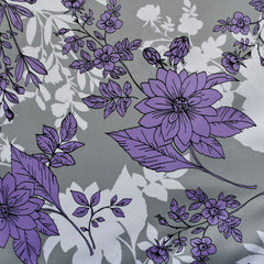 Botanical Outline Stretch Sateen Grey/Lavender - Fabric - Style Maker Fabrics