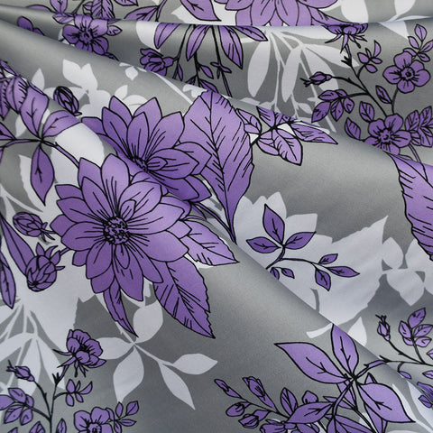 Botanical Outline Stretch Sateen Grey/Lavender