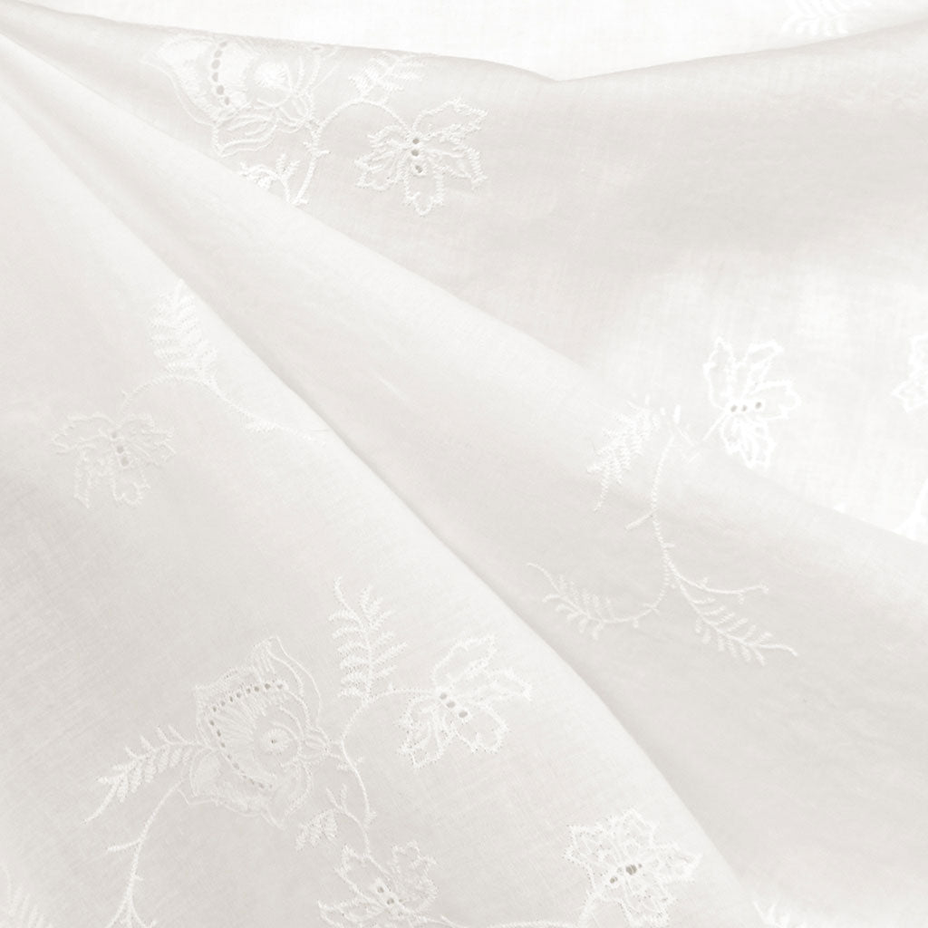Scroll Leaf Embroidered Eyelet Cotton Lawn Vanilla SY - Sold Out - Style Maker Fabrics