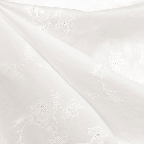 Scroll Leaf Embroidered Eyelet Cotton Lawn Vanilla
