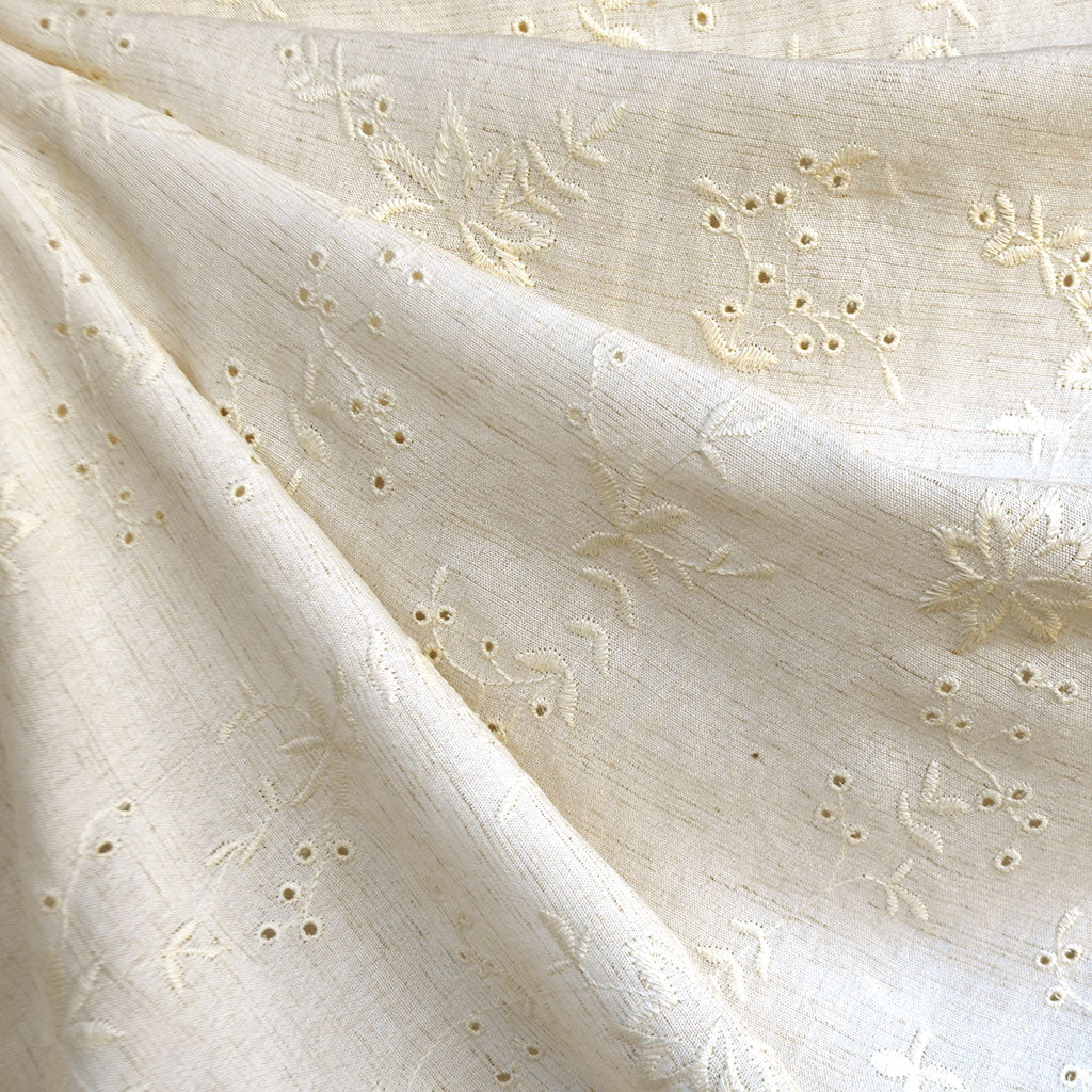 Embroidered Floral Eyelet Linen Blend Shirting Natural SY - Sold Out - Style Maker Fabrics