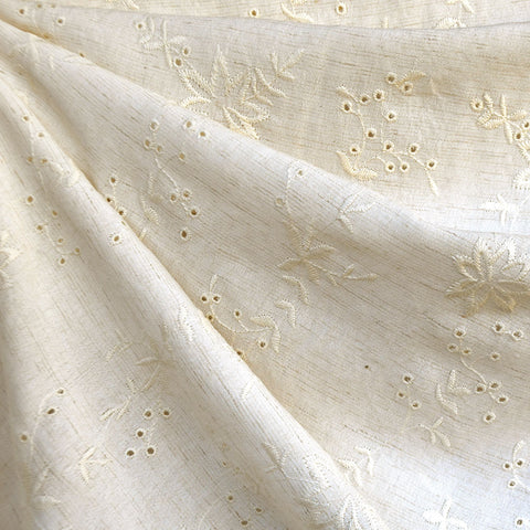 Embroidered Floral Eyelet Linen Blend Shirting Natural