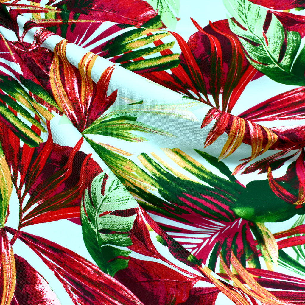 Tropical Foliage Swimwear Knit Aqua/Cerise - Fabric - Style Maker Fabrics