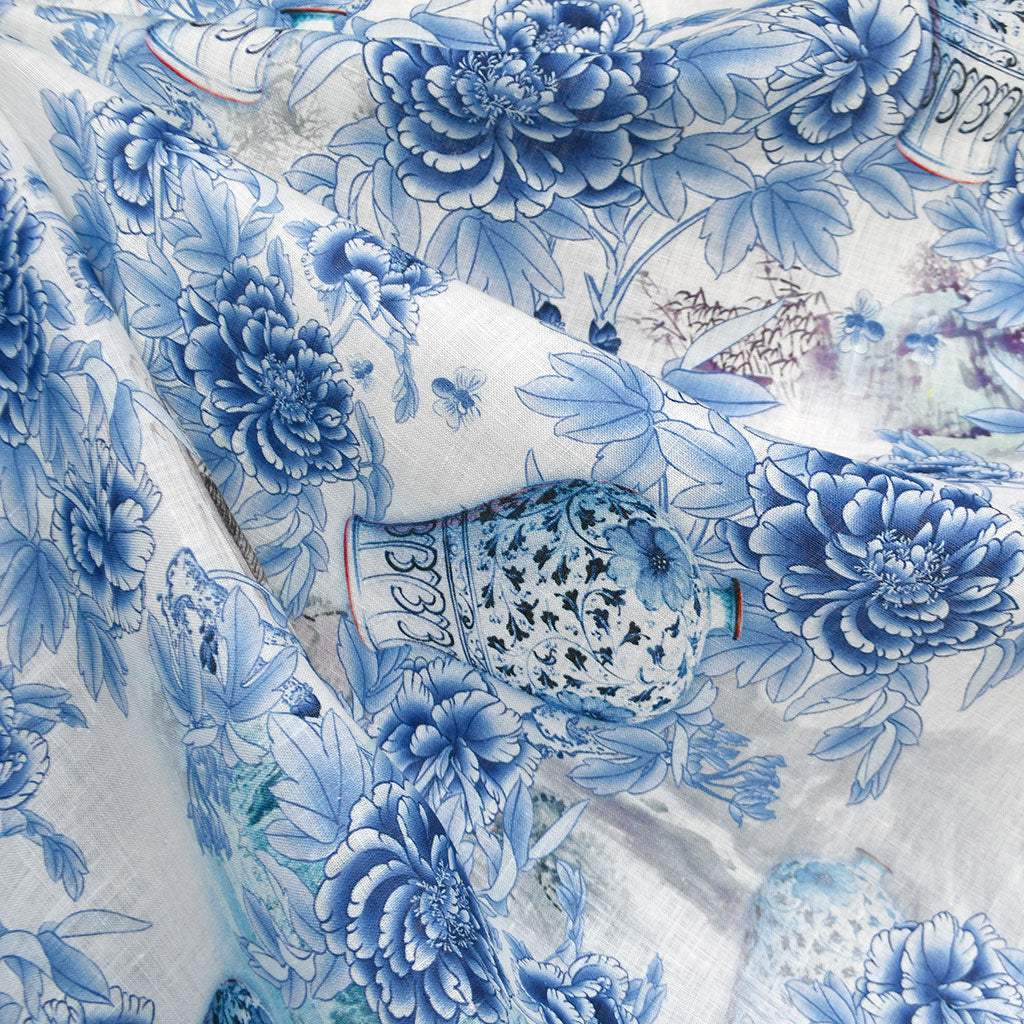 Asian Ceramic Floral Digital Print Linen Shirting Blue - Fabric - Style Maker Fabrics