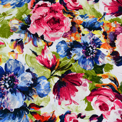 Watercolor Spring Floral Rayon Poplin Pink/Blue SY - Sold Out - Style Maker Fabrics