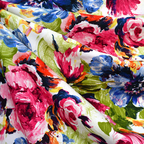 Watercolor Spring Floral Rayon Poplin Pink/Blue