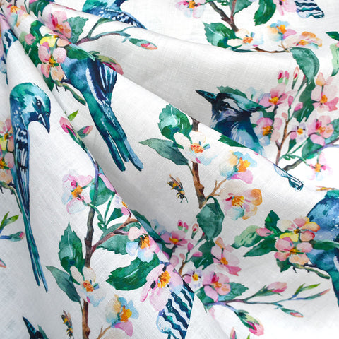 Spring Watercolor Birds Digital Print Linen Shirting Multi