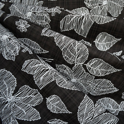 Sketchy Floral Textured Voile Shirting Black/White