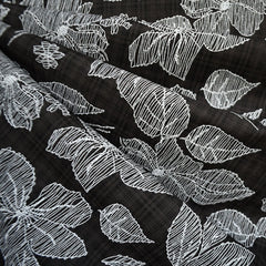 Sketchy Floral Textured Voile Shirting Black/White - Fabric - Style Maker Fabrics