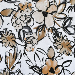 Watercolor Sketch Floral Rayon Jersey White/Latte - Fabric - Style Maker Fabrics