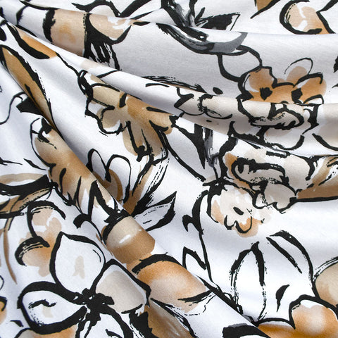 Watercolor Sketch Floral Rayon Jersey White/Latte