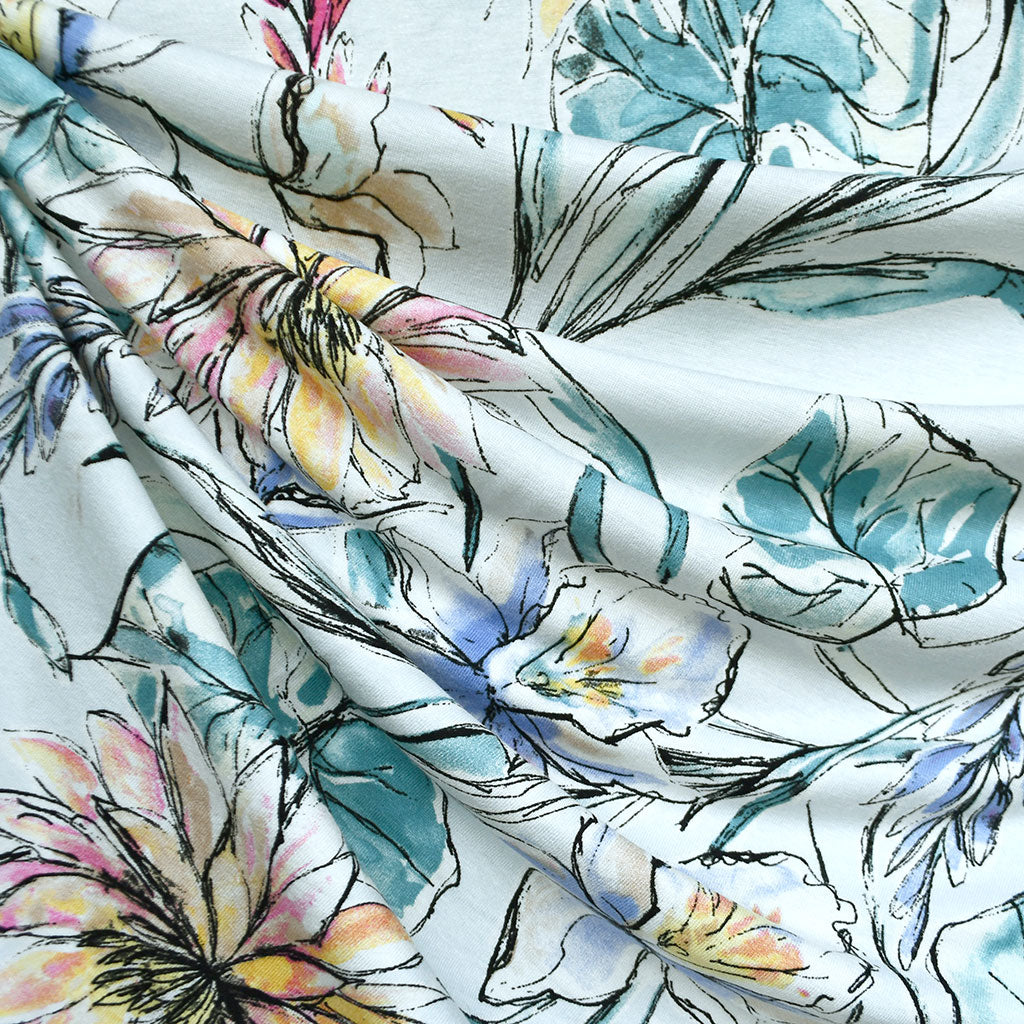 Watercolor Sketch Tropical Floral Rayon Jersey Sky SY - Sold Out - Style Maker Fabrics
