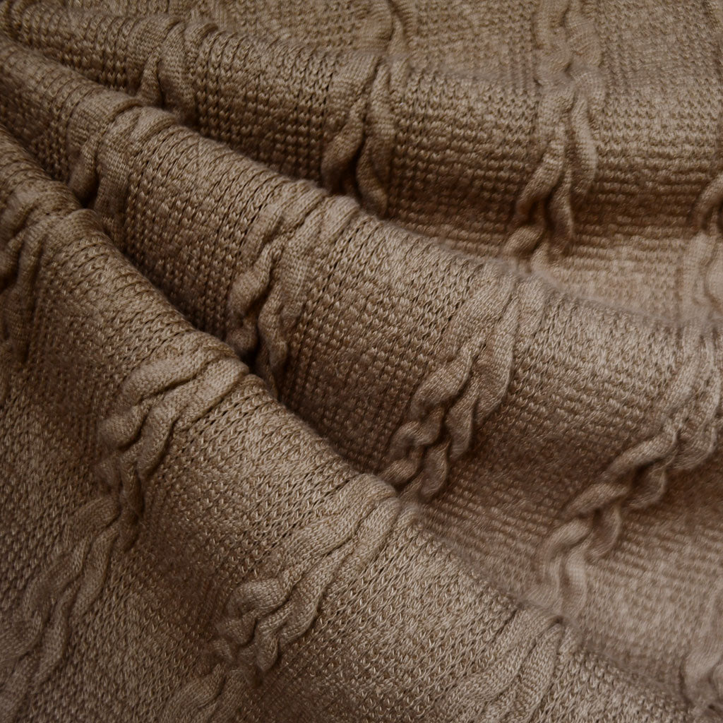 Soft Cable Stripe Sweater Knit Mocha—Preorder - Fabric - Style Maker Fabrics