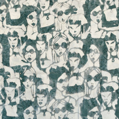 Fashionista Faces Rayon Batik Sage/Vanilla - Sold Out - Style Maker Fabrics