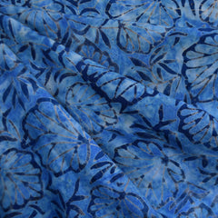 Wide Fanning Leaves Rayon Batik Blue - Sold Out - Style Maker Fabrics