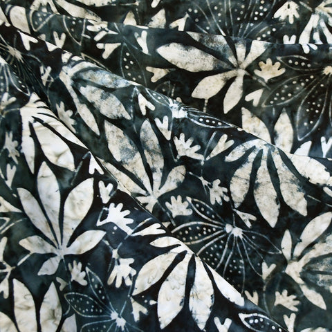 Botanical Leaves Rayon Batik Charcoal SY