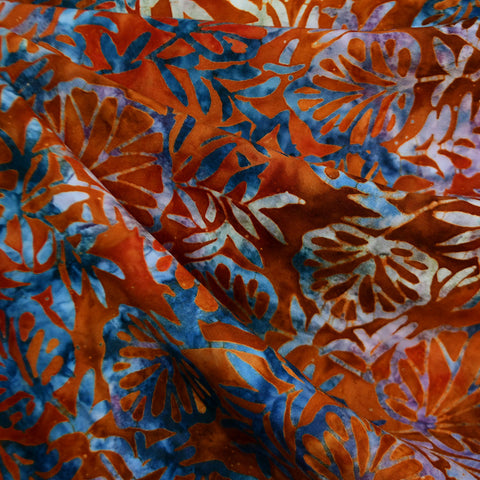 Wide Fanning Leaves Rayon Batik Rust