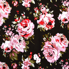 Tonal Rose Floral Rayon Jersey Black/Blush - Fabric - Style Maker Fabrics