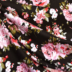 Tonal Rose Floral Rayon Jersey Black/Blush - Sold Out - Style Maker Fabrics