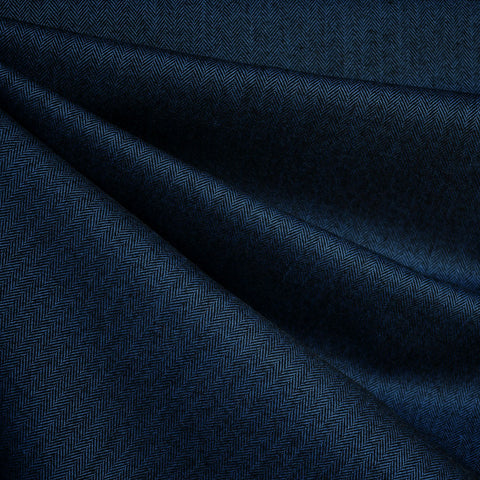 Shetland Flannel Mini Herringbone Navy