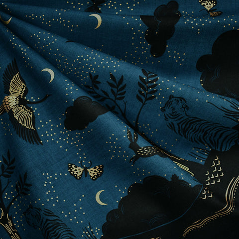 Tiger Fly Metallic Border Print Cotton Teal/Black