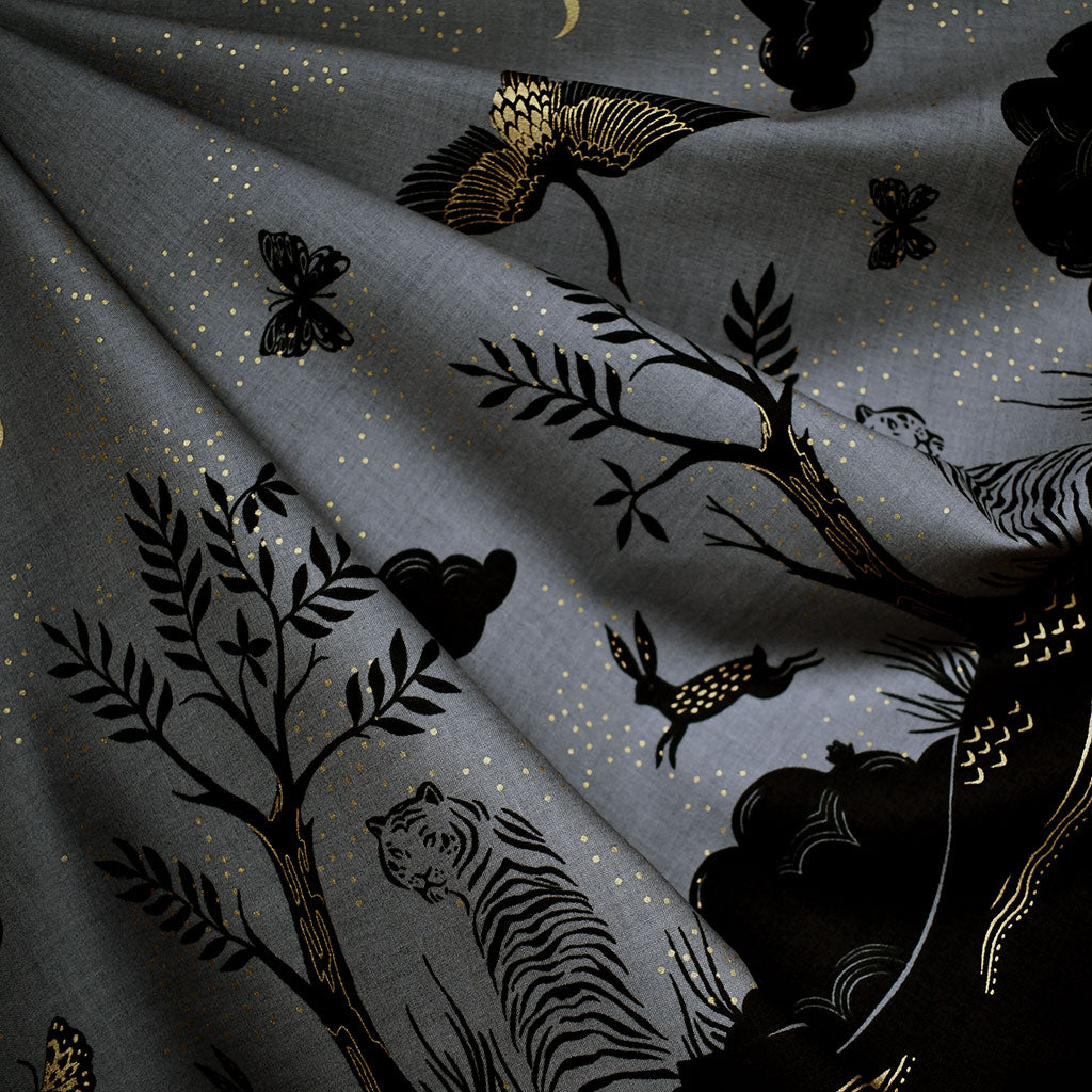 Tiger Fly Metallic Border Print Cotton Slate/Black SY - Sold Out - Style Maker Fabrics