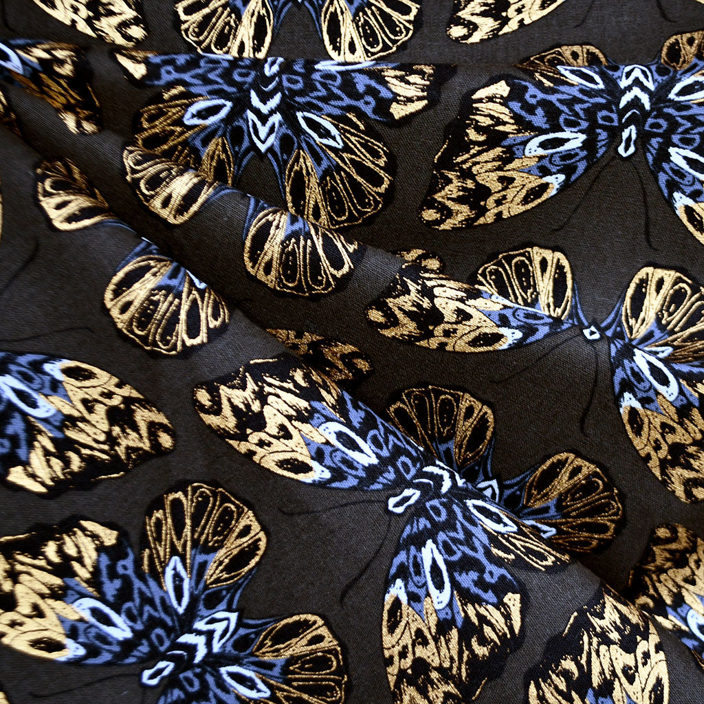 Tiger Fly Metallic Butterfly Canvas Noir - Fabric - Style Maker Fabrics