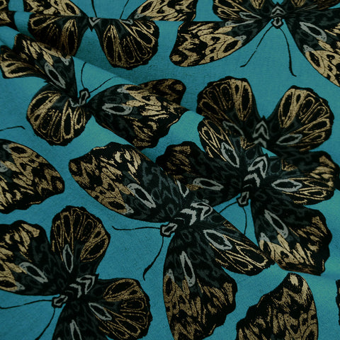 Tiger Fly Metallic Butterfly Canvas Aqua