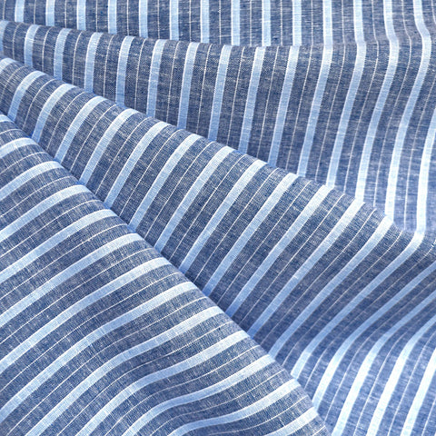 Multi Stripe Linen Blend Shirting Indigo/Blue