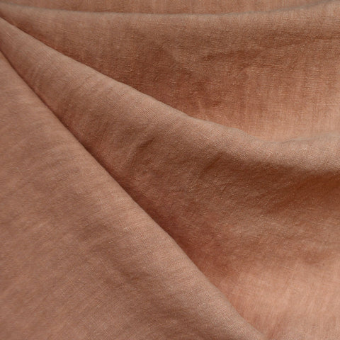 Soft Washed Linen Shirting Solid Peach
