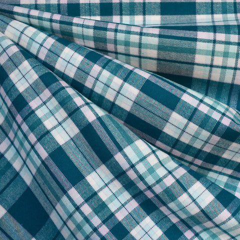 Madras Plaid Flannel Shirting Teal