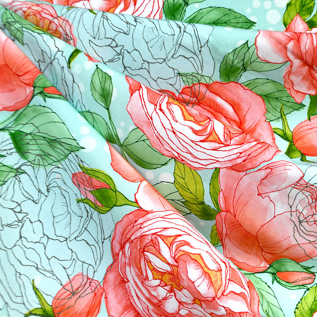 Abby Rose Watercolor Floral Rayon Poplin Aqua - Sold Out - Style Maker Fabrics