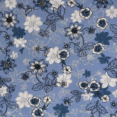 Layered Spring Floral Rayon Jersey Knit Periwinkle - Fabric - Style Maker Fabrics