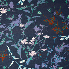 Layered Wild Flowers Rayon Jersey Knit Navy SY - Sold Out - Style Maker Fabrics