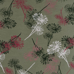 Daisy Silhouette Jersey French Terry Olive - Fabric - Style Maker Fabrics
