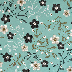 Mod Branching Floral Jersey Knit Aqua - Sold Out - Style Maker Fabrics