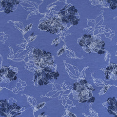 Layered Floral Outline Jersey French Terry Periwinkle - Fabric - Style Maker Fabrics