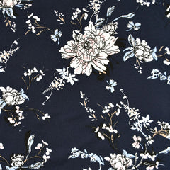 Romantic Vine Floral Jersey Knit Navy - Fabric - Style Maker Fabrics